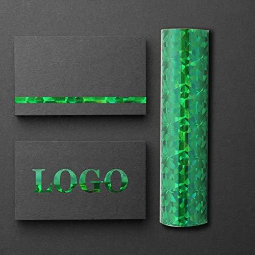 aifengxiandonglingbaihuo 5M Wärmeaktivierte Folie Schimmerfolie Transferblätter Heißprägefolie Mehrfarbiges 1-Rollen-Papier Holographisches Wärmeübertragungshandwerk, grünes Glas zerbrochen