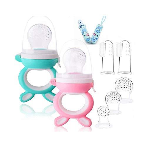 Voarge Fruchtsauger, Fruchtsauger für Baby & Kleinkind Baby Fruchtsauger Schnuller, BPA-frei, Schätzchen Schnuller Gemüse sauger für Schätzchen (Pink-Blau)