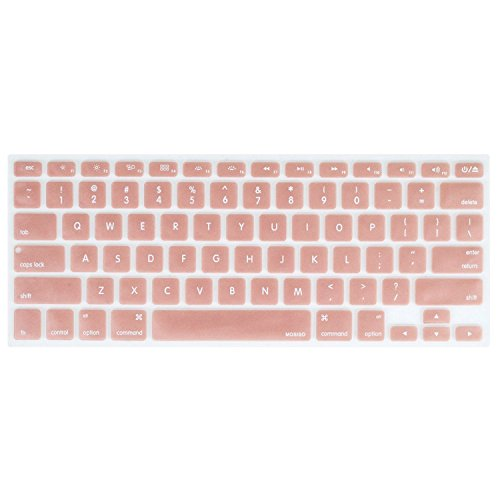 MOSISO Silicone Keyboard Cover Compatible with MacBook Pro 13/15 Inch (with/Without Retina Display, 2015 or Older Version),Older MacBook Air 13 Inch (A1466 / A1369, Release 2010-2017), Rose Gold