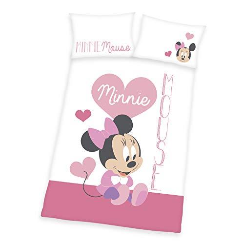 Herding Disneys Minnie Mouse Bettwäsche-Set, Wendemotiv, Kopfkissenbezug 40 x 60 cm, Bettbezug 100 x 135 cm, Mit Knopfleiste, Baumwolle/Linon