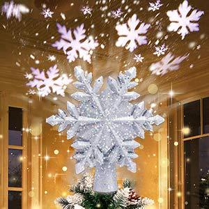 Boomersun Weihnachtsbaumspitze Stern, Weihnachtsbaum Topper mit LED Projektor, Schneeflocke Form Weihnachtsbaum Top Projektor, Christbaumspitze LED Drehen Schneeflocke für Dekoration - Silber