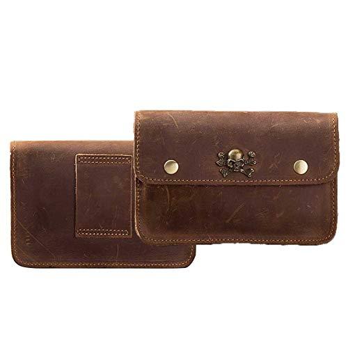 Bolso de Cuero de Cuero Vintage para iPhone Cintura Clip Holding iPhone Cuero Holster (Color : Marrón)