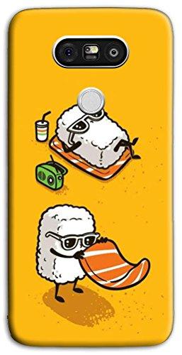 Mixroom - Cover Custodia Case in TPU Silicone Morbida per LG G5 Se H840 M594 Coppia di Sushi in Spiaggia
