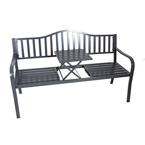 Gartenbank Bank aus Metall anthrazit mit integriertem Tisch 150cm 2466