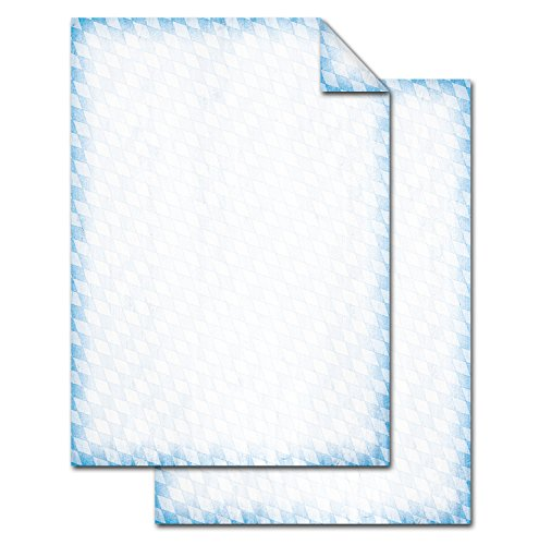 Logbuch-Verlag 50 Blatt Briefpapier BAYERN blau weiß kariert RAUTE bayerisches Papier Bastelpapier beidseitig doppelseitig Oktoberfest 100g Einladung DIN A4 Papier Holzoptik