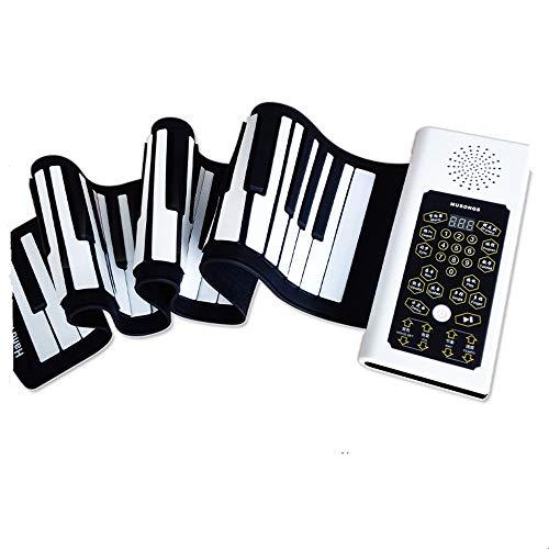 Elektronische Klaviertastaturen aufrollen Handrolle Klavier 88 Tasten Anfänger elektronische Orgel Sustain-Pedal Mikrofon Silikon weich Klavier Lernspielzeug ( Color : Black , Size : 135cm*23cm*5cm )