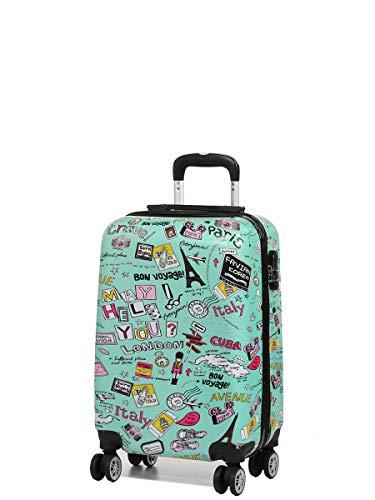 Print Trolley Bags Bowatex Motiv Reise Koffer Dehnfalte Welt Städte Blau XL 76cm