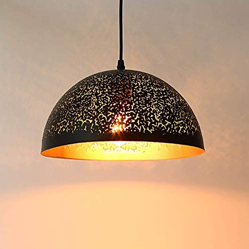 LIGHTESS Lámpara Vintage de Techo Casquillo E27 Colgante, Luz Industrial, Lámpara Retro Techo Negro