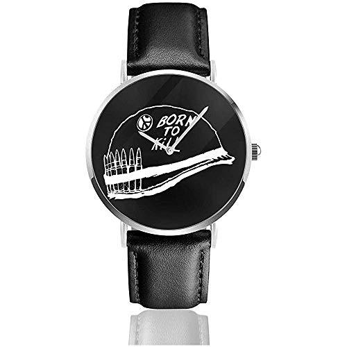 Unisex Business Casual Full Metal Jacket Casco Minimal Watches Reloj de Cuero...