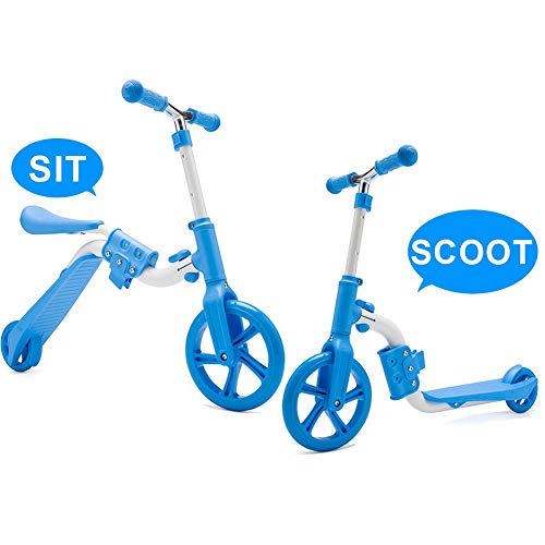 LJHHH Balance Bike,3 Adjustable Height Kids Scooter,2-in-1 | 2 Wheels Kick Scooter with Removable Seat,Best Birthday Gift for Baby Boys Girls Age 2-8,Blue