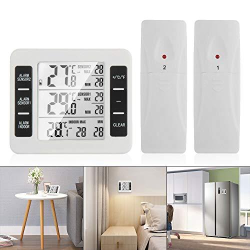 OurLeeme Termometro Digitale Wireless, Termometro Frigorifero LCD Schermo Digitale Allarme Acustico Congelatore Termometro Impermeabile con 2 sensori Wireless (Nessuna Funzione igrometro)