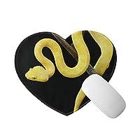 ゴールデンイエロー ヘビ マウスパッド かわいいアイテム ハート型 滑り止めゴム底 おしゃれ 雑貨 パソコン PCアクセサリー