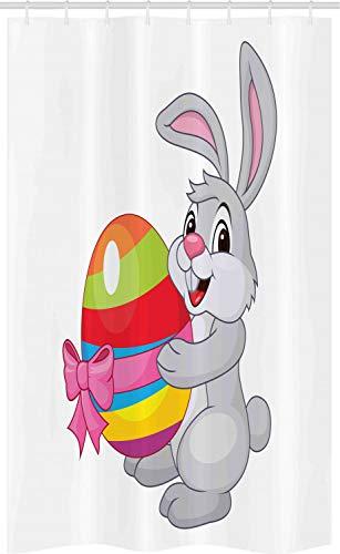 ABAKUHAUS Ostern Schmaler Duschvorhang, Cartoon-Kaninchen, Badezimmer Deko Set aus Stoff mit Haken, 120 x 180 cm, Grau Rot