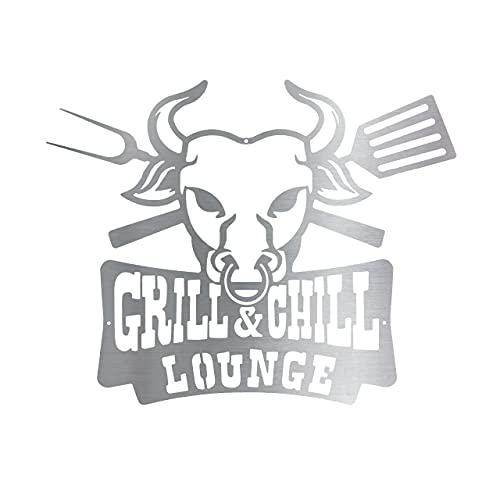 Rerum & Consilium Schild Grill&Chill Lounge aus Edelstahl I Made in Germany I 52 x 41 cm | 477 g