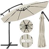 tillvex Parasol déporté hexagonale 3M avec manivelle | Pare-soleil avec pied | Protection UV en aluminium pour le jardin | Parasol à manivelle pour le marché déperlant (Beige)