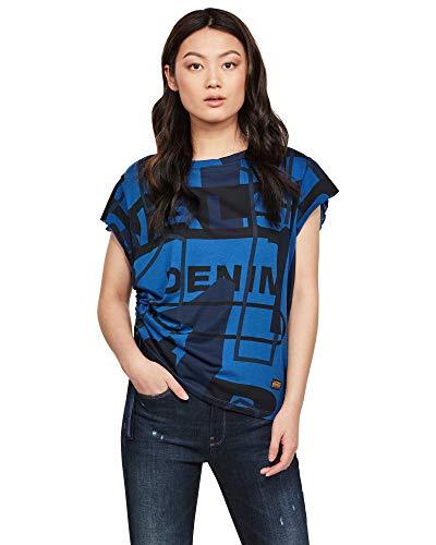 G-STAR RAW Womens Gyre Knot Cap Sleeve Shirt, deep True Blue Modernist C340-B700, XX-Large