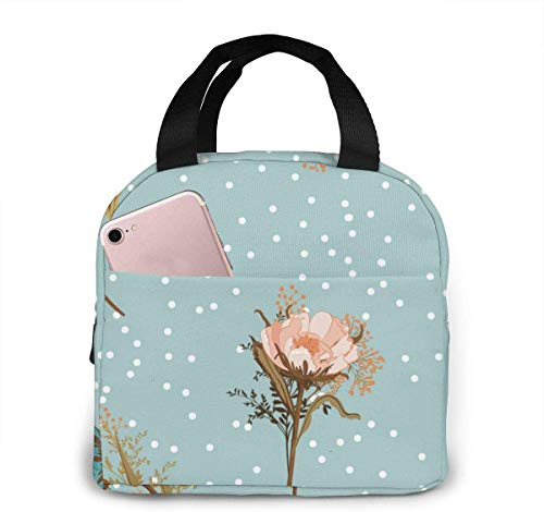 OIVLA Bolsa Térmica Beautiful Vintage Pastel Blowing Garden Flowers Flower Portable Insulated Lunch Bag Waterproof Lunch Handbag Food Zipper Storage Lunch Box Keep Warm 4H with Front Pocket
