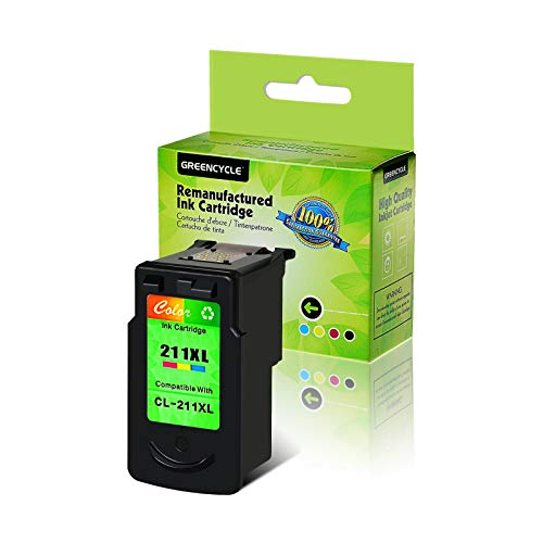 GREENCYCLE 1PK Remanufactured CL-211 211XL CL-211XL Tri-Color Ink Cartridge 349 Pages Compatible for Canon PIXMA Ip2702 MP270 MP490 MX320 MX360 Inkjet Printer (1PK, Color CL211XL)