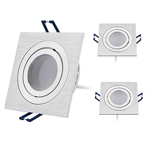 HCFEI 3er Set LED Einbaustrahler dimmbar flach(30mm Tiefe) Eckig, Alu gebürstet, Schwenkbar mit 5W LED Modul Warmweiß 3000K für 230V ohne Trafo, glanzpolierter Innenring