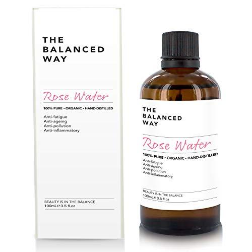 Puro agua de rosas - 100% orgánico, para el rostro, cuerpo y cabello - Hecho en Marruecos, triplemente purificado, sin alcohol - Antiarrugas con propiedades antiinflamatorias relajantes (100ml)