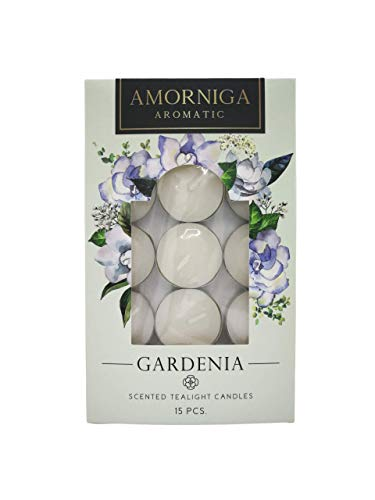 Amorniga Scented Tea Lights Candles, (Pack of 15) | Aromatherapy Candles, Candles for Home | Candle Warmer, Up to 4 Hour Burn Time, Natural Fragrances | (Gardenia)