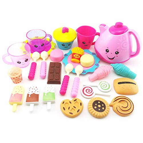 ZUJI 28er Set Küchenspielzeug Lebensmittel Spielzeug Geschirr Teekanne und Erfrischung Spielset für Kinder Rollenspiele