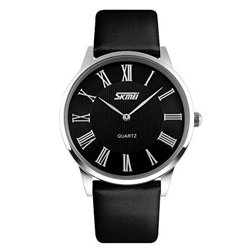 Relógio analógico de quartzo TONSHEN para homens/mulheres com número romano e casual para negócios, ultrafino 7 mm caixa de aço inoxidável 30 m pulseira de couro resistente à água – preto, Men