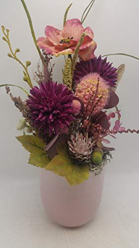 Blumengesteck Gesteck Sommergesteck Seidenblumen Chrysantheme Allium rosa lila