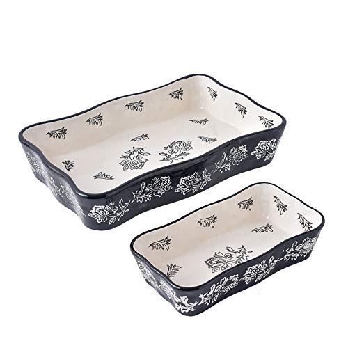 Baking Dish Ceramic Casserole Dish Bakeware Set Nonstick Lasagna Pan 2pcs Black Baking Dishes for kitchen