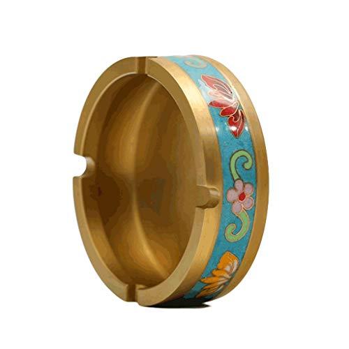 Titular de Ceniza Cloisonne esmalte cenicero hecho a mano bandeja de ceniza de latón multifuncional Cloisonne esmalte color ceniza titular de la ceniza decoración de escritorio -2 colores Canastilla d