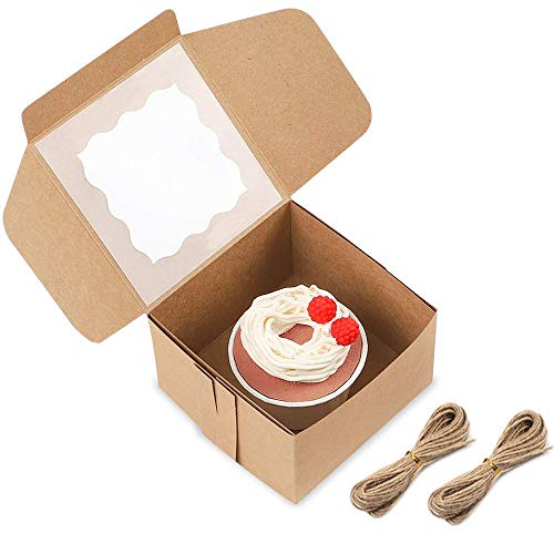 ONE MORE 6x6x3Brown Bakery Boxes with PVC Window for Pie and Cookies Boxes Small Natural Craft Paper Box 6x6x3inch,Pack of 25 25pcs