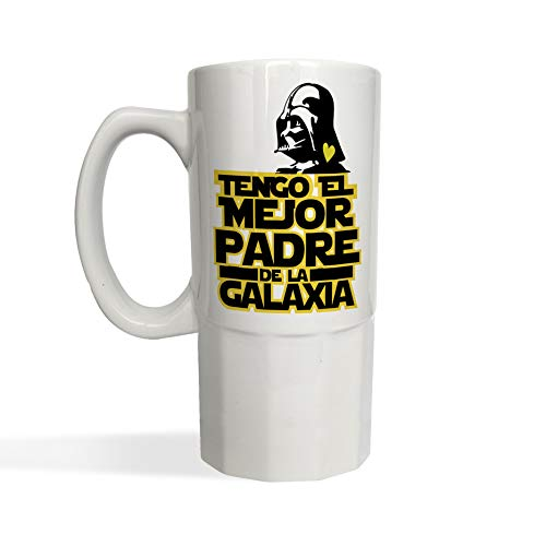 Jarra de Cerveza Tengo el mejor Padre de la Galaxia STAR WARS Darth Vader - Jarra cerámica o cristal glaseado 650 ml - Frase divertida Regalo Sorpresa DIA DEL PADRE o Cumpleaños (cerámica blanca)