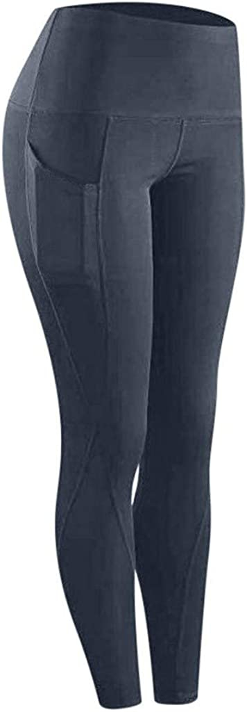 HebeTop Compression Yoga Pants with Inner Pockets in High Waist Athletic Pants Tummy Control Stretch Workout Yoga Leggings