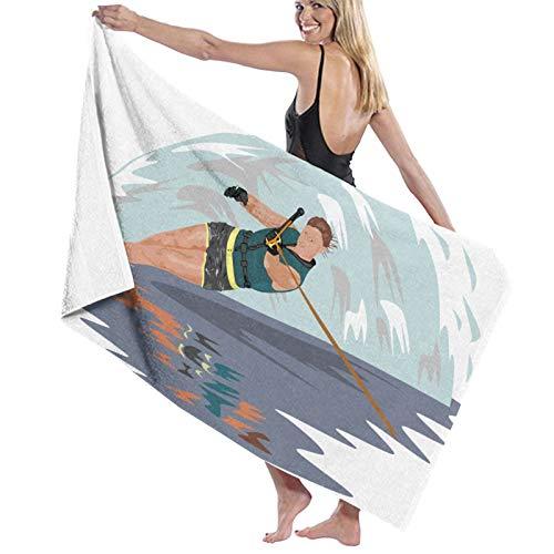 Toalla de playa para esquí acuático, toalla de baño de microfibra, diseño súper suave, 100% algodón para viajes y fitness. (Tamaño: 81 x 132 cm)