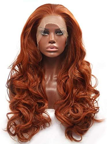 JIAFENG Mode Glueless sans cuivre Rouge Long Naturel Wavy Partie Perruques Avant de Dentelle Perruque synthétique résistant à la Chaleur pour Les Femm