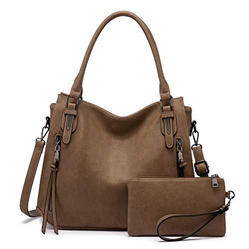 Realer Damen Handtaschen Groß Shopper Lederhandtasche Schultertasche Umhängetasche Geldbörse Hobo Damen Taschen Set 2pcs Gelbbraun