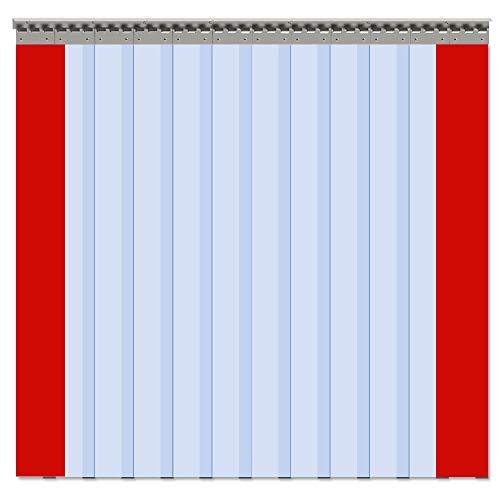 "VIZ-PRO 12PCS Strip Door Curtain, 96"" Height X 72"" Width, 0.08 Inch Standard Clear PVC Curtain Strip with 56% Overlap for 6' X 8' Doors"