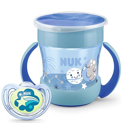 NUK Perfect Night Sammlung   Mini Magic Cup Trinklernbecher und Freestyle Night Schnuller   6+ Monate   BPA-frei   160 ml   Blau