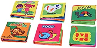 JMD 6Pcs Washable Soft Cloth Book Early Education Intelligent Toy for Infant Toddler Kids Learning Animals Food Shapes Col...