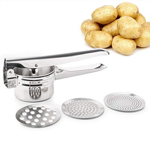 FUKTSYSM Schiacciapatate - Potato Ricer in acciaio con 3 intercambiabili Dischi- ergonomica Comfort Maniglia Design per il cibo Pressa (Argento)