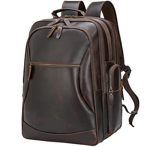 TIDING Men's Leather 17.3' Laptop Backpack Large Capacity Weekender Camping Travel 46L Rucksack