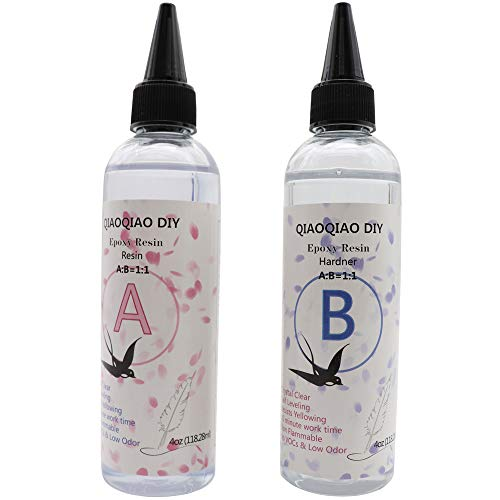 Epoxy Resin Crystal Clear Glue for Jewelry Making,ONGHSD AB Crystal Glue Resin Kit for DIY Casting/Coating Art Work Crafts Transparent Non-Toxic Epoxy Resin and Hardener 1:1 Ratio Easy Mix (4oz+4oz)