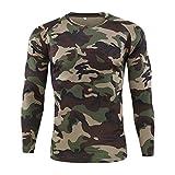 Camiseta Militar Hombre Camisetas Camuflaje Al Aire Libre Ropa Cuello Redondo Secado rápido Top Básico Otoño Invierno de Manga Larga Blusa ¡Venta de liquidación! Yvelands(Camuflaje,XXL)