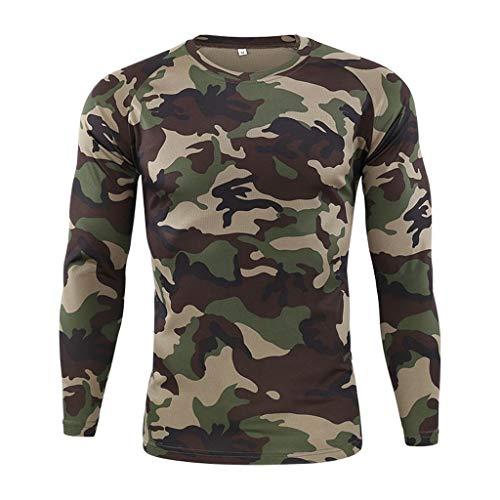 DNOQN Sportshirt Herren T Shirt Topshop Poloshirt Outdoor Schnell Trocknend Camouflage Langarm Tops Bluse T-Shirts Tarnen XXXL