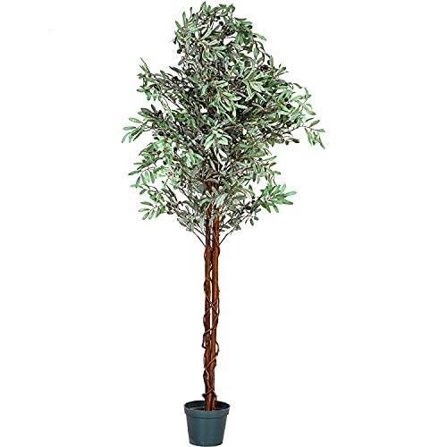 PLANTASIA® Olivenbaum, Echtholzstamm, Kunstbaum, Kunstpflanze - 180 cm, Schadstoffgeprüft