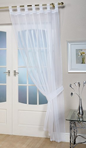 John Aird Woven Voile Tab Top Curtain Panels - Free Tieback Included (White, 60' Wide x 90' Drop)