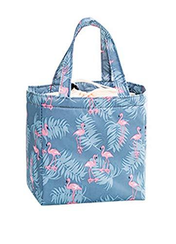 I3CKIZCE Bolsa porta alimentos para el almuerzo, bolsa térmica de pícnic, portátil, impermeable, con revestimiento aislante para escuela, trabajo, camping, playa Azul Flamenco 20*20*13 cm