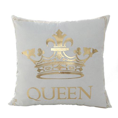 """Sunwords, federa per cuscino con scritta stampata, color oro """"Queen King"""", per auto, divano, decorazione per la casa, 45,7x 45,7cm, Panno, 16#, taglia unica"""