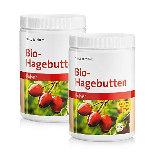 Sanct Bernhard Bio-Hagebutten Pulver, kalorienreduziert, mechanische Pressung, glutenfrei, vegan, für Smoothies, Shakes, Müslis, Inhalt 1 kg
