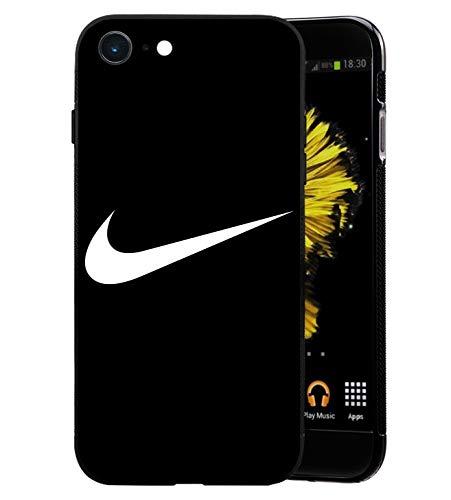 Just Do It Logo iPhone 6/6S Custodia, Sottile Lucido Morbido TPU Silicone Parte Posteriore in Vetro Temperato Case Bumper Cover per iPhone 6/6S - Nero